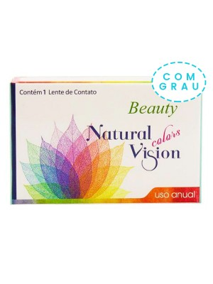 Lente de Contato Colorida Natural Vision Colors Beauty Anual unidade - COM GRAU