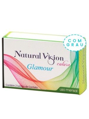 Lente de Contato Colorida Natural Vision Colors Glamour Mensal Cx2 - COM GRAU
